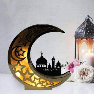 Veilleuse Lune du Ramadan En Bois